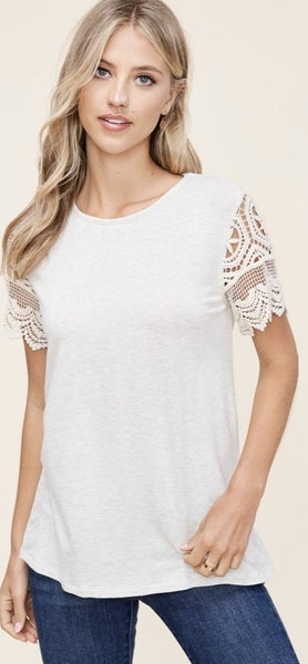 ROUND NECK, CROCHET LACED SHORT SLEEVE, RAYON TERRY, SOLID TOP