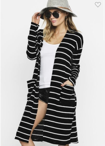 BLACK STRIPED THERMAL OPEN FRONT CARDIGAN