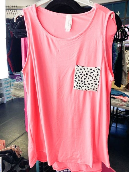 NEON PINK TANK WITH DALMATION PARTY POCKET