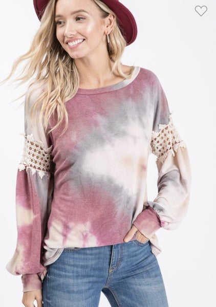 BURGUNDY TIE DYE BISHOP SLEEVE TOP