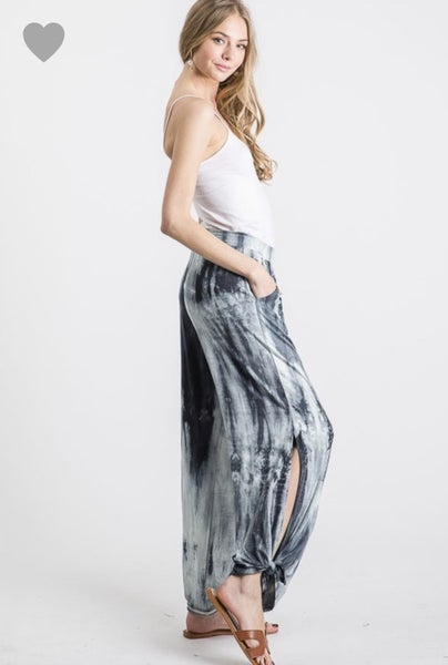 DARK NAVY TIE DYE SPLIT SIDE PANTS