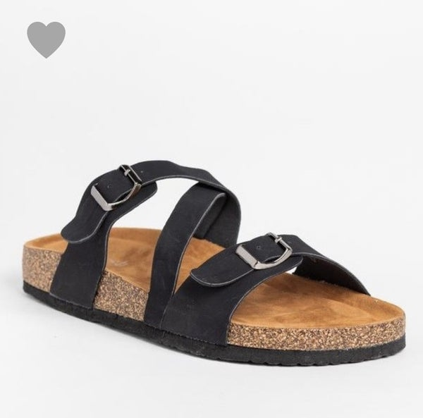 BLACK FOOTBED SANDALS - COMFY!