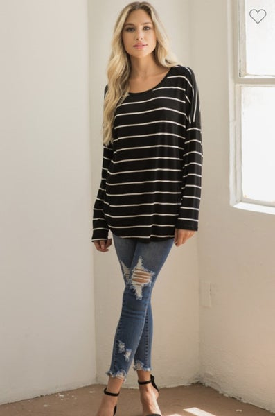 MOMENT OF TRUTH BLACK STRIPED LONG SLEEVE WITH LACE BACK DETAIL