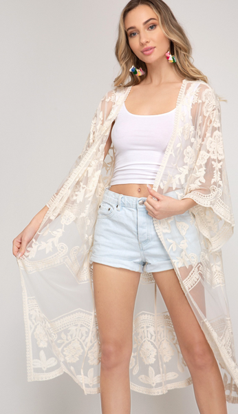 STUNNING CROCHET LACE OPEN CARDIGAN