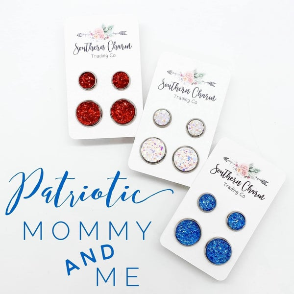 MOMMY & ME BLUE DRUZY EARRINGS!