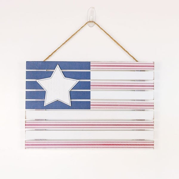 USA FLAG WOOD HANGING SIGN