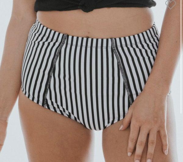 Black & White Striped Swimsuit MIDI Bottoms
