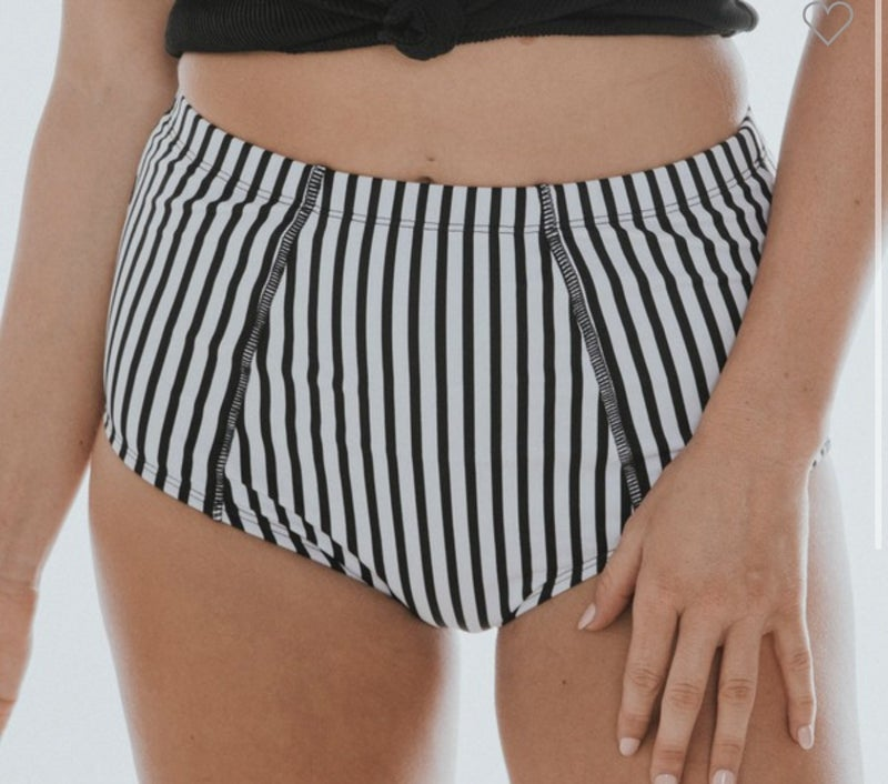 Black & White Striped Swimsuit MIDI Bottoms