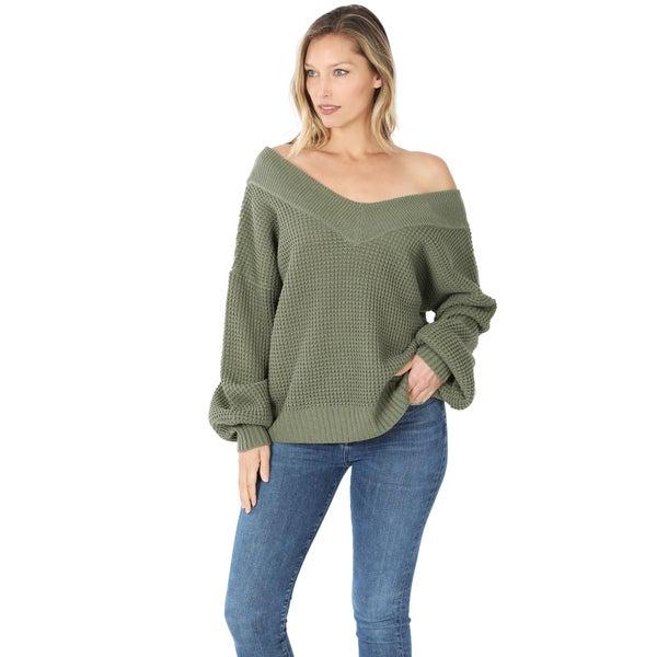 V~Neck Waflle Knit Sweater