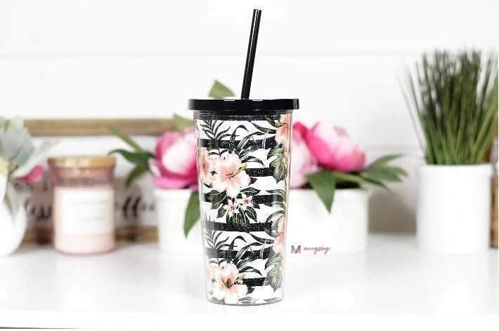 Tropical Florals with Stripes Tumbler with Straw