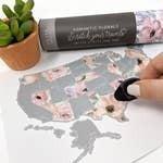 "Desk Size Romantic USA Scratch Your Travel Map 11""x8.5"