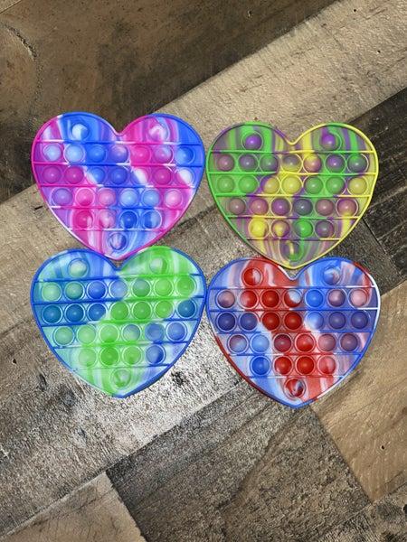 Heart Tie Dye  Pop It Fidget Bubble Stress Relief Autism Sensory