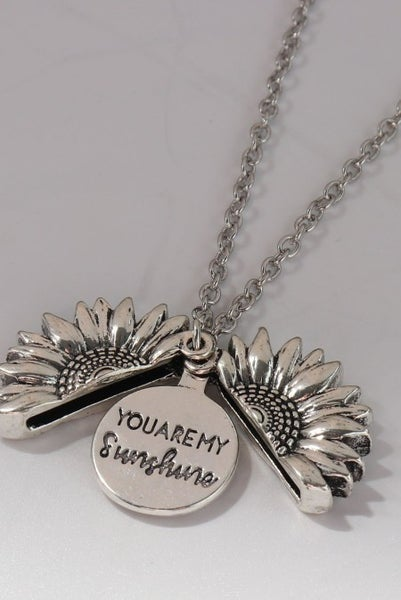 You Are My Sunshine Silvery Sunflower Pendant Necklace