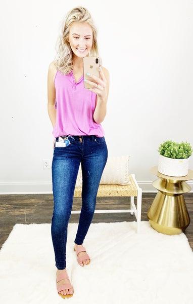 YMI BONNIE Mid Rise 3 Button Skinny Jean