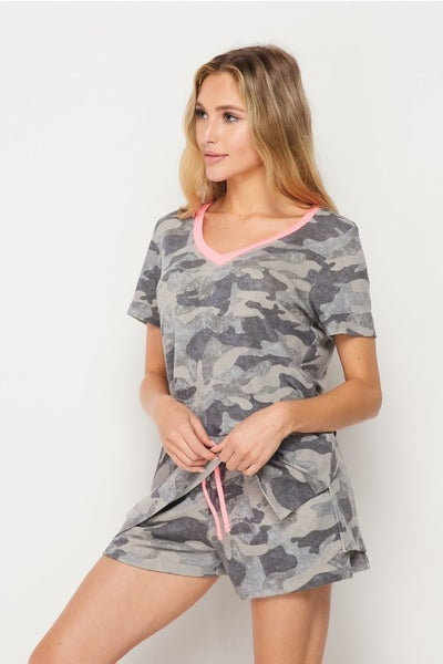 Camo & Neon Neckline Honeyme Loungin Around Town Shorts