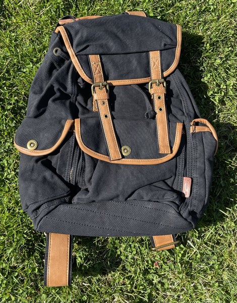 Three Pocket Bag With Leather Straps