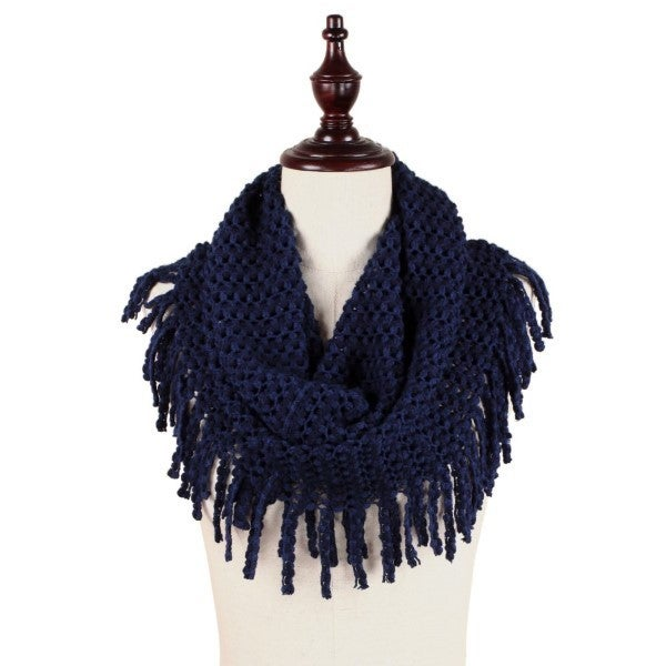 All The Fringe Scarf  Navy
