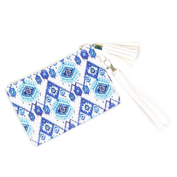 White teal and blue Wristlet