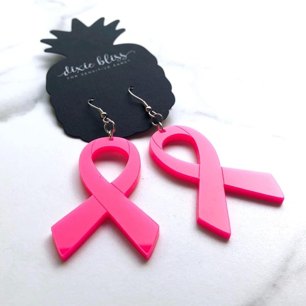 Dixie bliss dangle breast cancer awareness ribbon