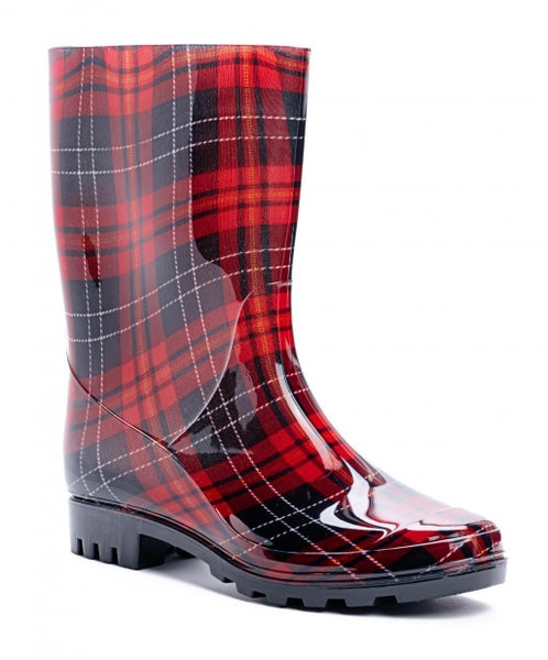 Corky's Red Plaid Rain Boots