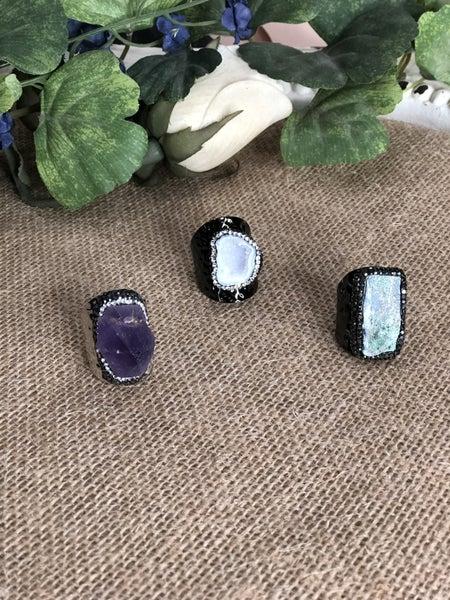 Adjustable Natural Rock Amethyst and Quartz Ring