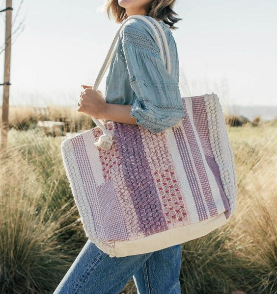 Lovestitch Handloomed Patchwork Sequined pull through yarn tote with rope handle