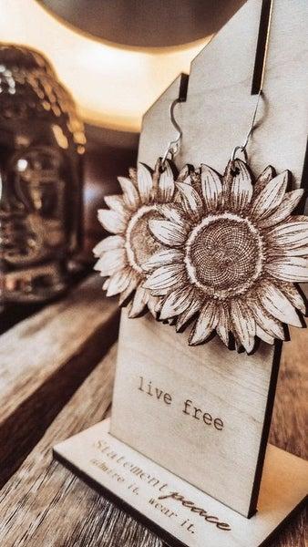 Statement Peace Earrings Sunflowers