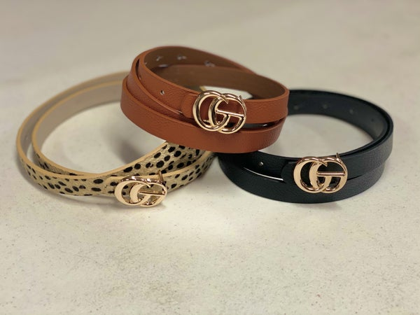 3 Pack Thin Gucci Inspired Belt