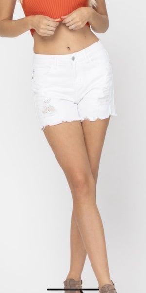 Bella Judy Blue White Lace Patch Shorts