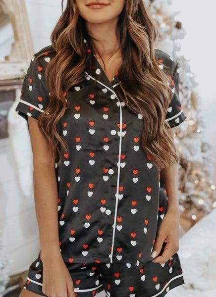 Black Hearts Print Satin Short Sleeve Shirt and Shorts Pajama Set