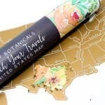 Scratch Your Travels Peachy Botanicals USA Map - Silv