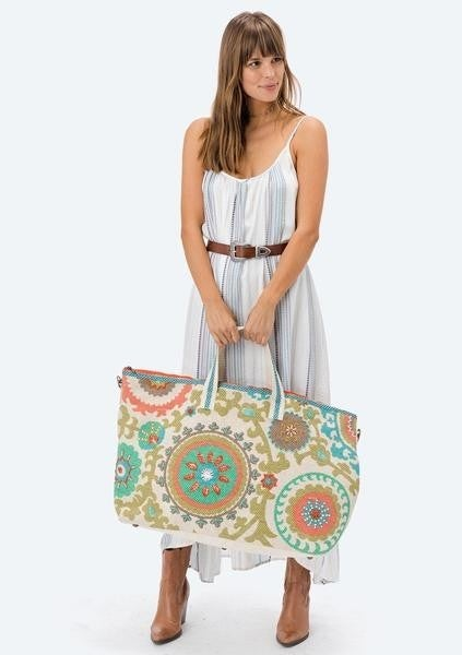 Lovestitch  Printed Vintage washed getaway bag with embroidery