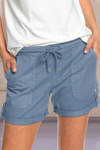 Blue Elastic Waistband Pocket Drawstring Shorts with Button