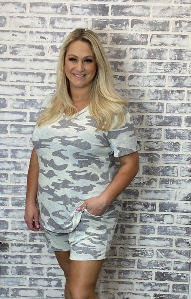 Hello Camo! Honeyme Loungin Around Town Tops
