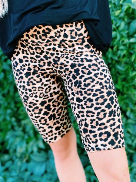 Rumi Regular and Curvy Fit Cheetah Biker Shorts