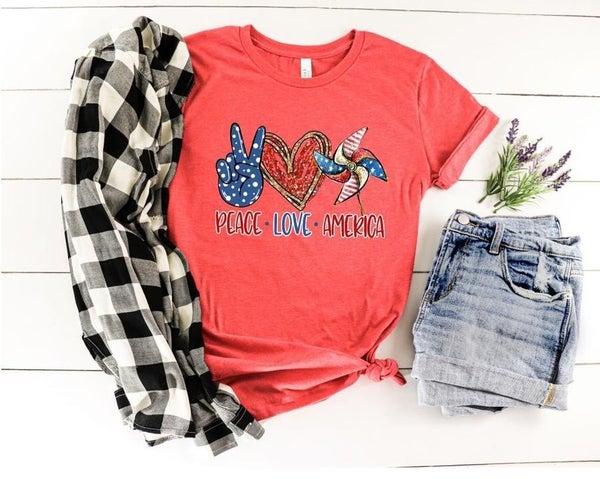 Peace Love America Graphic Tee