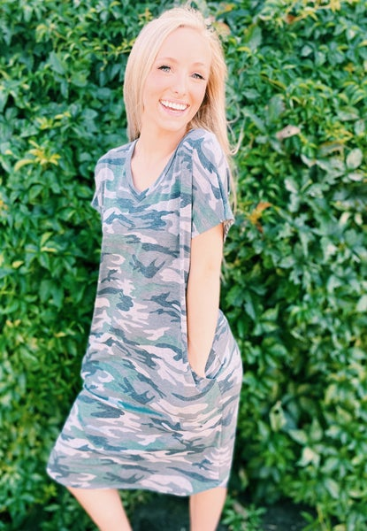 Camo V-Neck Dress