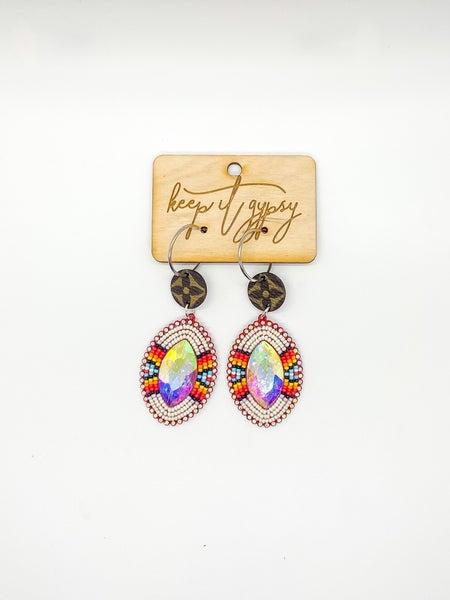 Upcycled LV Bling Bead Earrings