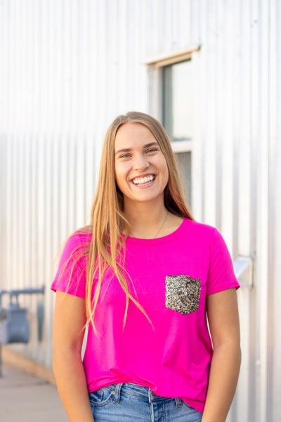Alicia Glitter Pocket Top