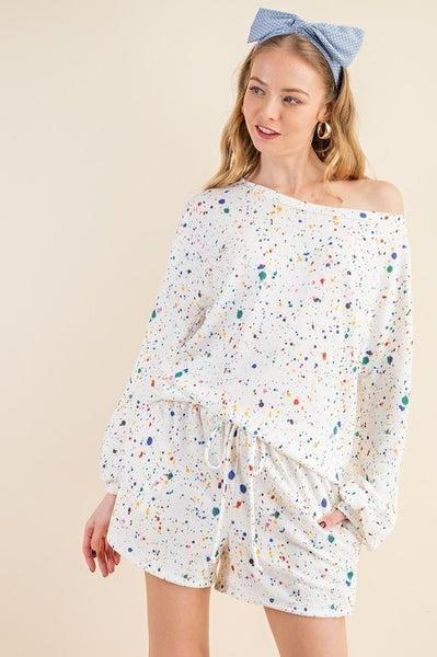 Splashed Bubble Short Loungewear Set