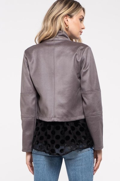 Blu Faux Suede Jacket