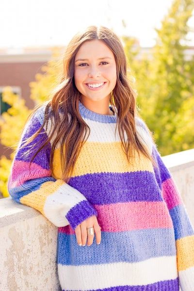 CHUNKY KNIT MULTI COLOR BLOCK STRIPED SWEATER