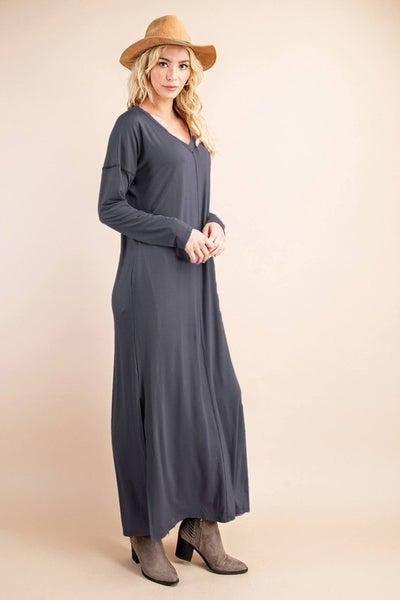 V-Neck Reversed Stitch Dress