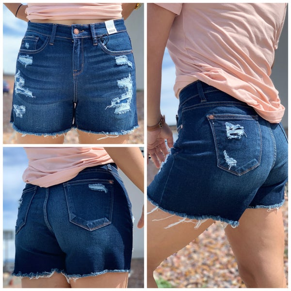 Judy Blue Mia Patch Distressed Mid Shorts