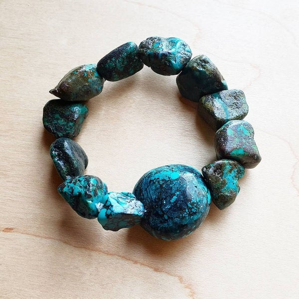 Chunky Natural Turquoise Bracelet with Round Center Stone