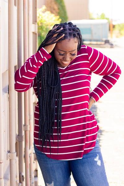 V-Neck Striped Long Sleeve