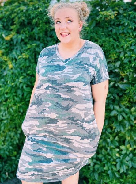Camo V-Neck Curvy Fit Dress