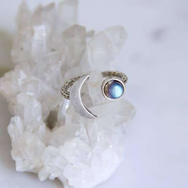 Labradorite Crescent Ring - Silver