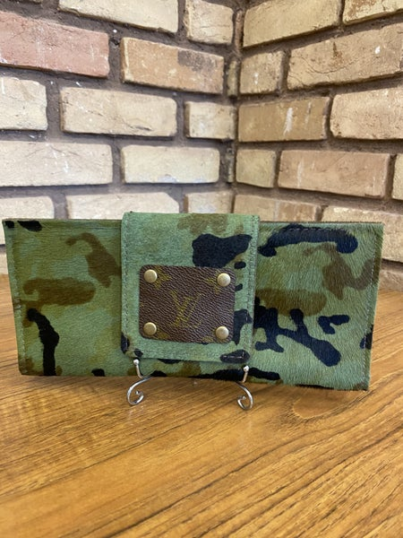 Genuine Leather Handmade Hair on Hide Green Camouflage Wallet