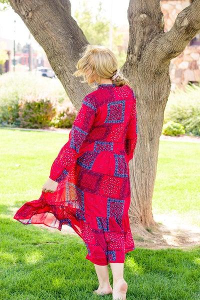 Red Bandana Overlay Dress